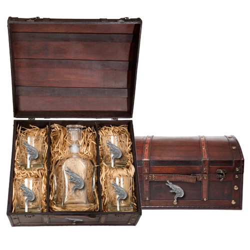 Alligator Capitol Decanter Set w/ Chest
