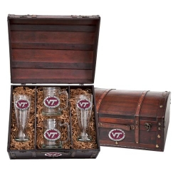 "Virginia Tech University ""VT"" Beer Set w/ Chest - Enameled"