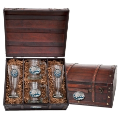 Brown Bear with Fish Beer Set w/ Chest - Enameled