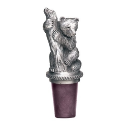 Black Bear Pewter Bottle Stopper