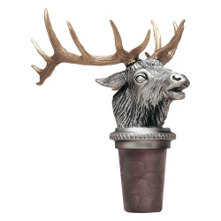 Elk w/ Brass Antlers Pewter Bottle Stopper