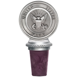 "Navy ""Crest"" Pewter Bottle Stopper"