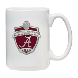 2015 CFP National Champions Alabama Crimson Tide White Coffee Cup - Enameled