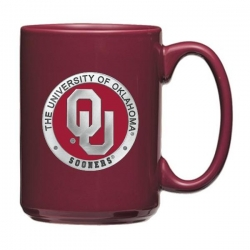 "University of Oklahoma ""OU"" Burgundy Coffee Cup - Enameled"