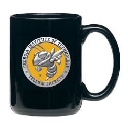 "Georgia Institute of Technology ""Yellow Jacket"" Black Coffee Cup - Enameled"