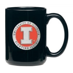 University of Illinois Black Coffee Cup - Enameled