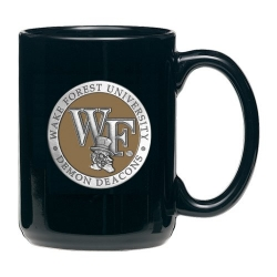 "Wake Forest University ""WF"" Black Coffee Cup - Enameled"