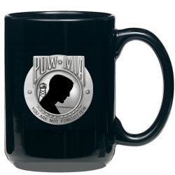 POW MIA Black Coffee Cup - Enameled