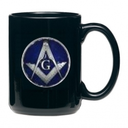 Masonic Square & Compass Black Coffee Cup - Enameled