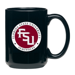 "Florida State University ""FSU"" Black Coffee Cup - Enameled"