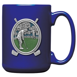 "Golf ""Putter"" Cobalt Coffee Cup - Enameled"