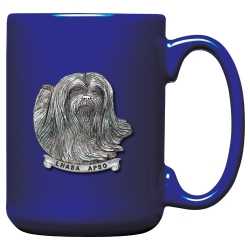 Lhasa Apso Cobalt Coffee Cup