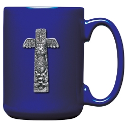 Totem Pole Cobalt Coffee Cup