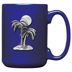 Palm Tree Cobalt Coffee Cup