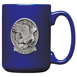 "Bald Eagle ""United We Stand"" Cobalt Coffee Cup"