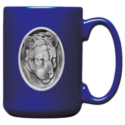Mountain Lion Cobalt Coffee Cup