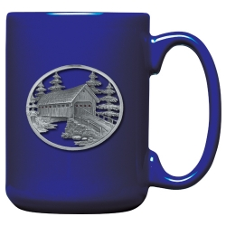 Covered Bridge Cobalt Coffee Cup
