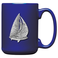 Sail Boat Cobalt Coffee Cup