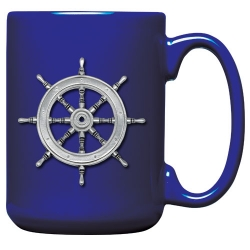 Ship Wheel Cobalt Coffee Cup