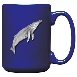 Humpback Whale Cobalt Coffee Cup