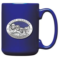 Mount Rushmore Cobalt Coffee Cup - Enameled