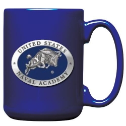 "Naval Academy ""Bill the Goat"" Cobalt Coffee Cup - Enameled"