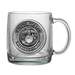 "Marine Corps ""USMC"" Clear Coffee Cup"