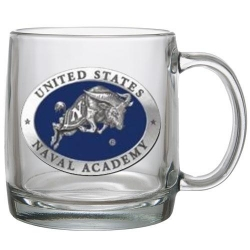 "Naval Academy ""Bill the Goat"" Clear Coffee Cup - Enameled"