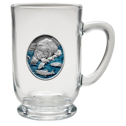 Brown Bear with Fish Clear Coffee Cup - Enameled