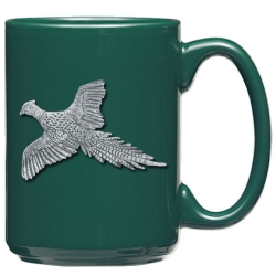 "Pheasant ""Flight"" Green Coffee Cup"