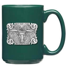 Texas Longhorn Bull Green Coffee Cup