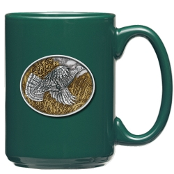 Ruffed Grouse Green Coffee Cup - Enameled