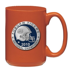 "2010 BCS National Champions Auburn University ""Tigers"" Orange Coffee Cup - Enameled - Helmet"
