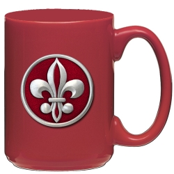 Fleur de Lis #2 Red Coffee Cup - Enameled