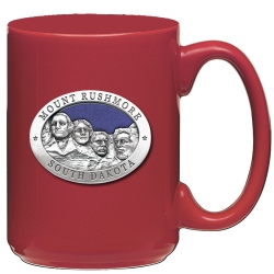 Mount Rushmore Red Coffee Cup - Enameled