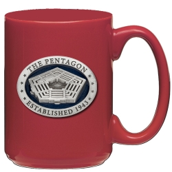 Pentagon Red Coffee Cup - Enameled
