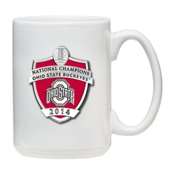 2014 BCS National Champions Ohio State Buckeyes White Coffee Cup - Enameled