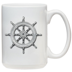 Ship Wheel White Coffee Cup