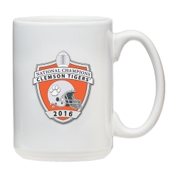 2016 CFP National Champions Clemson Tigers White Coffee Cup - Enameled
