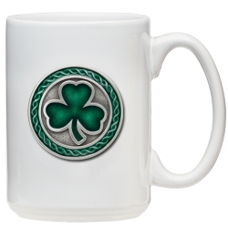 Clover White Coffee Cup - Enameled