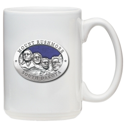 Mount Rushmore White Coffee Cup - Enameled