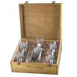 "Georgia Institute of Technology ""GT"" Capitol Decanter Set w/ Box"
