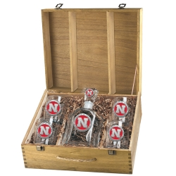 University of Nebraska Capitol Decanter Set w/ Box - Enameled