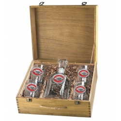 University of New Mexico Capitol Decanter Set w/ Box - Enameled