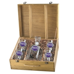 Texas Christian University Capitol Decanter Set w/ Box - Enameled