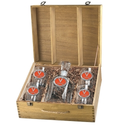 University of Virginia Capitol Decanter Set w/ Box - Enameled