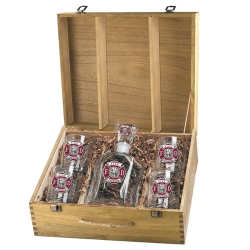 Firefighter Capitol Decanter Set w/ Box - Enameled