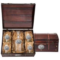 """Georgia Institute of Technology """"GT"""" Capitol Decanter Set w/ Chest"""