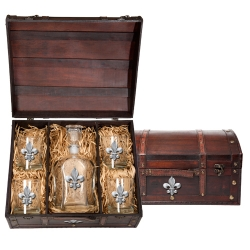 Fleur de Lis Capitol Decanter Set w/ Chest