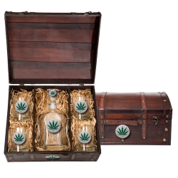Marijuana Capitol Decanter Set w/ Chest - Enameled